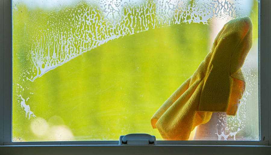 Window Cleaning with Microfiber